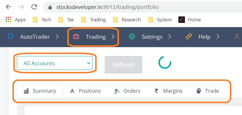 Trading Portfolio Screen