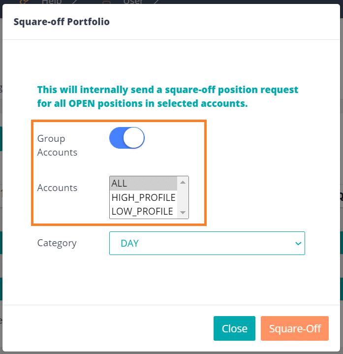 Square-off portfolio group accounts