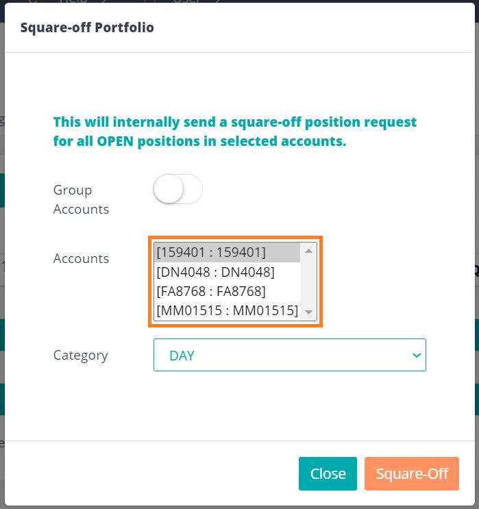 Square-off portfolio pseudo accounts