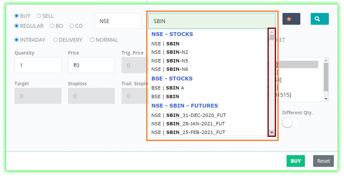 Trade screen ajax symbol search